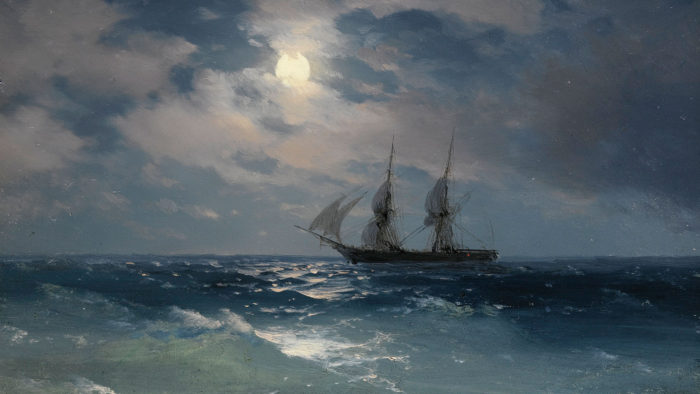 Ivan Konstantinovich Aivazovsky - THE BRIG MERCURY IN MOONLIGHT 2560x1440