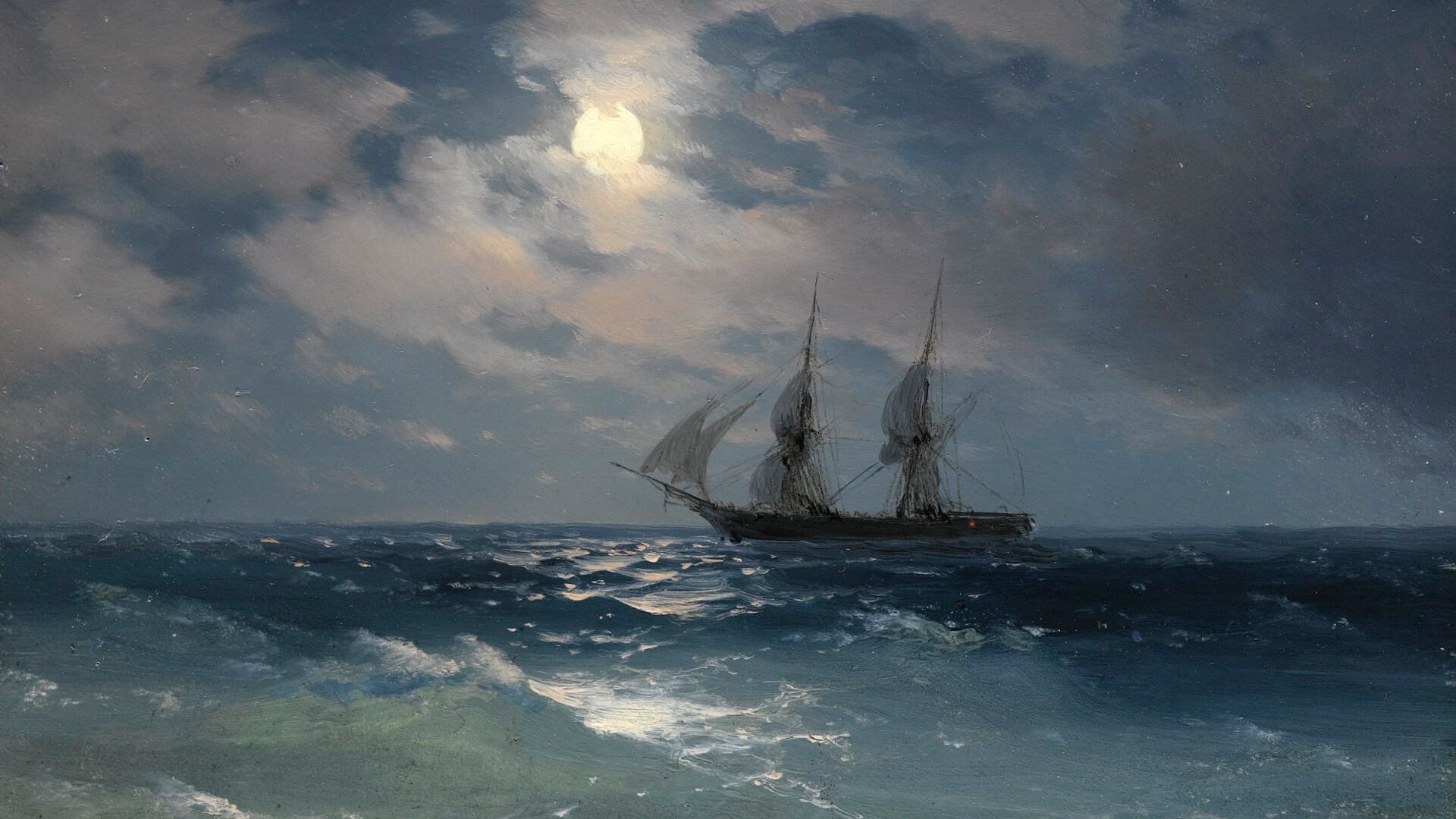 wallpaper Aivazovsky The Brig Mercury in Moonlight
