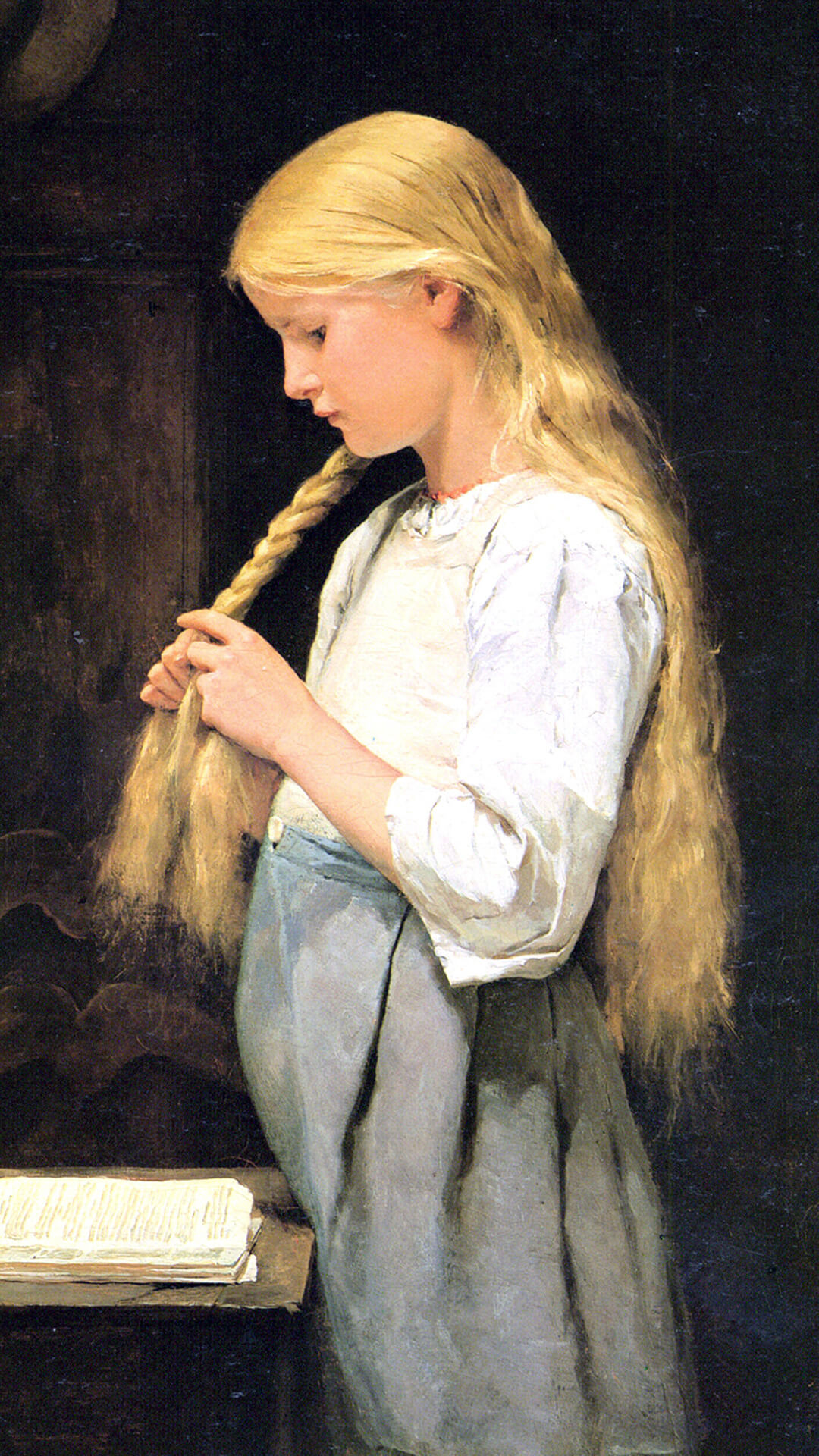 アルベール・アンカー Albert-Anker / Girl Braiding Her Hair