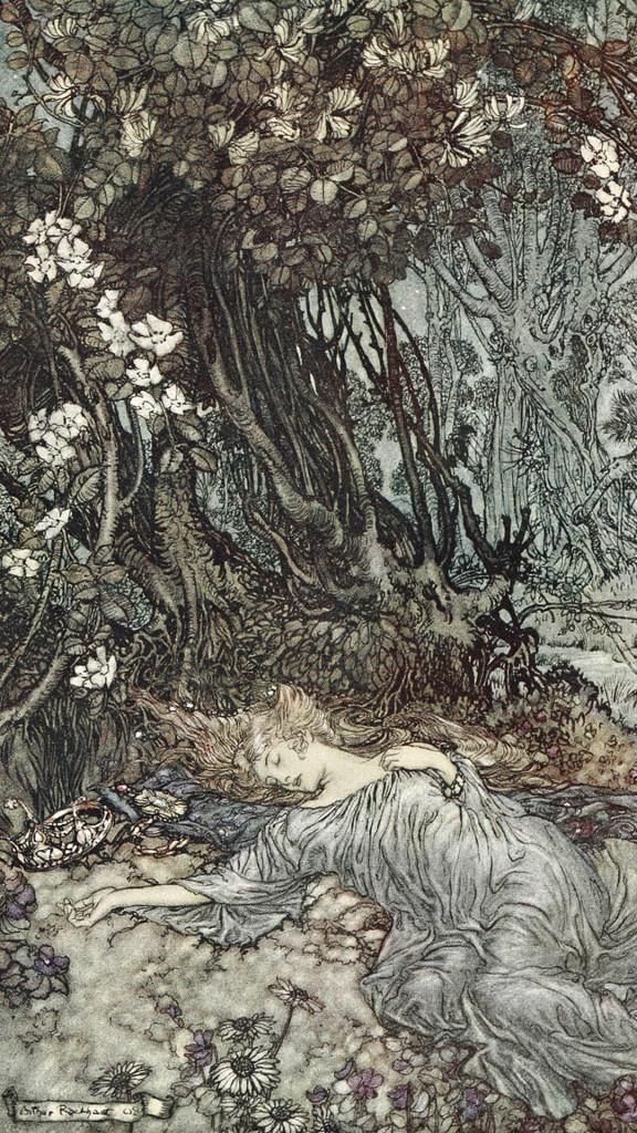 Arthur Rackham-Titania lying asleep_1080x1920