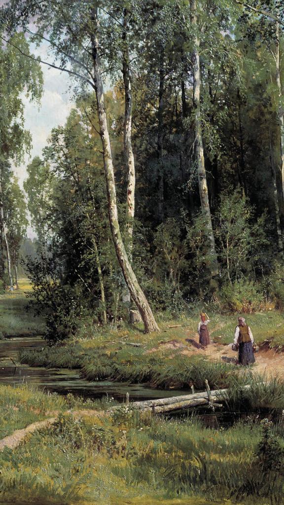 Iwan_Iwanowitsch_Schischkin-Brook in Birch Forest_1080x1920