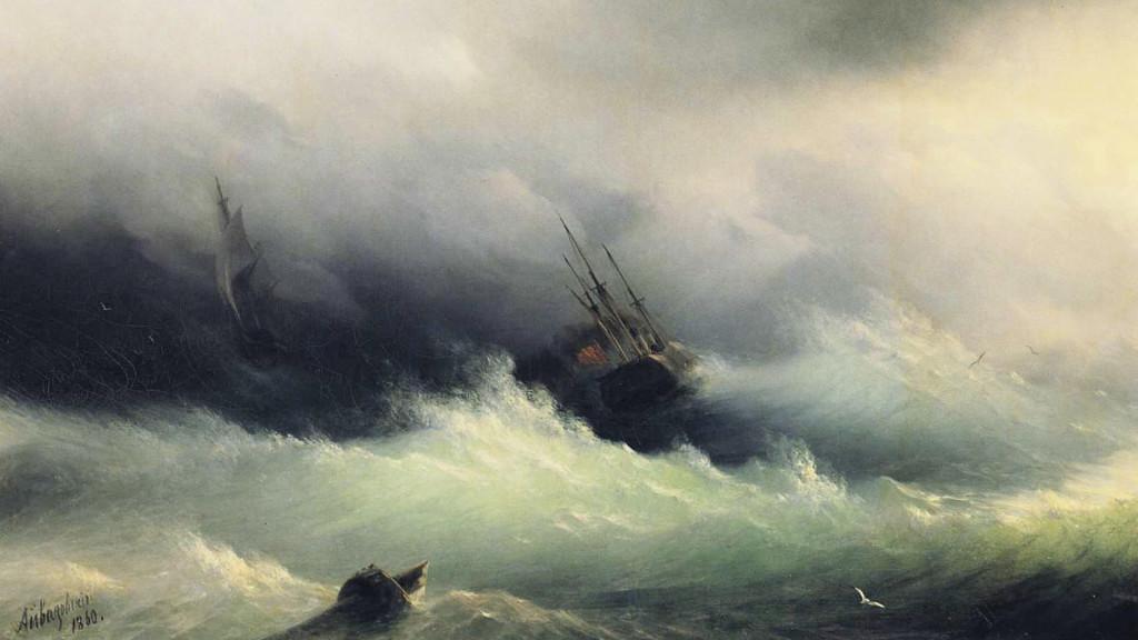 ivan constantinovich aivazovsky-ships in a storm_1920x1080