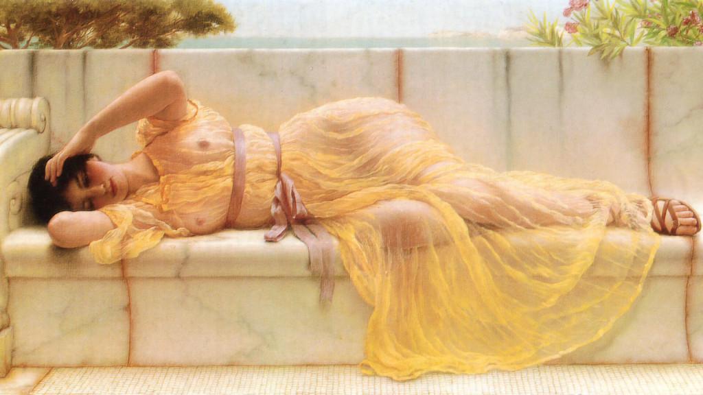 John William Godward-Girl in yellow Drapery_1920x1080