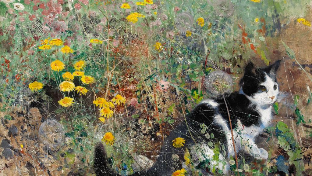 Bruno Liljefors-Cat on flowerbed_1920x1080