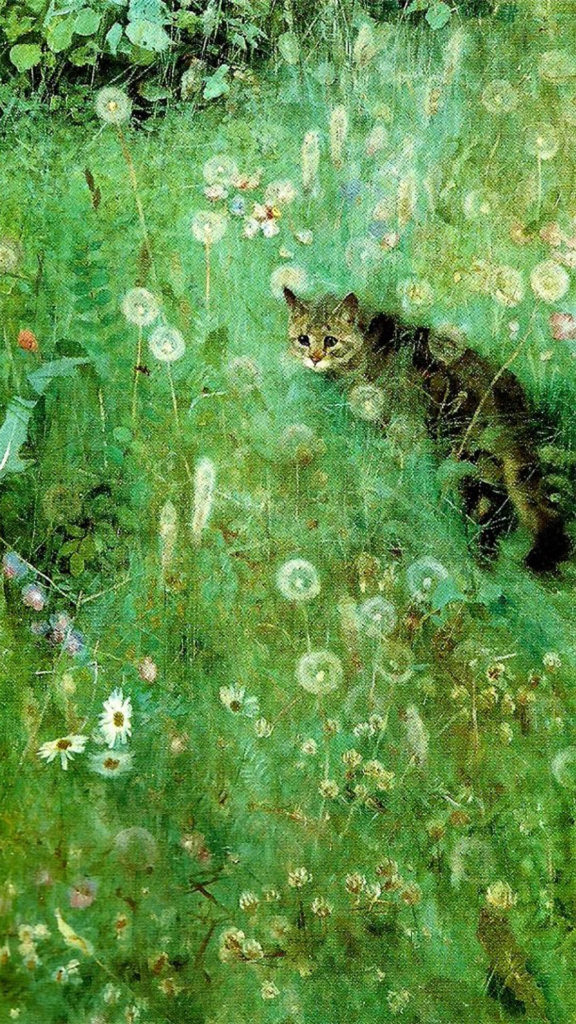 bruno liljefors-Cat in the Summer Meadow_1080x1920