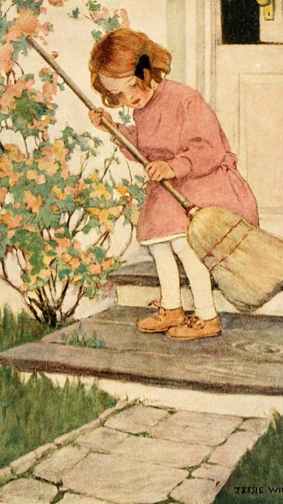 jessie willcox smith-Girl Sweeping Doorsteps_1080x1920