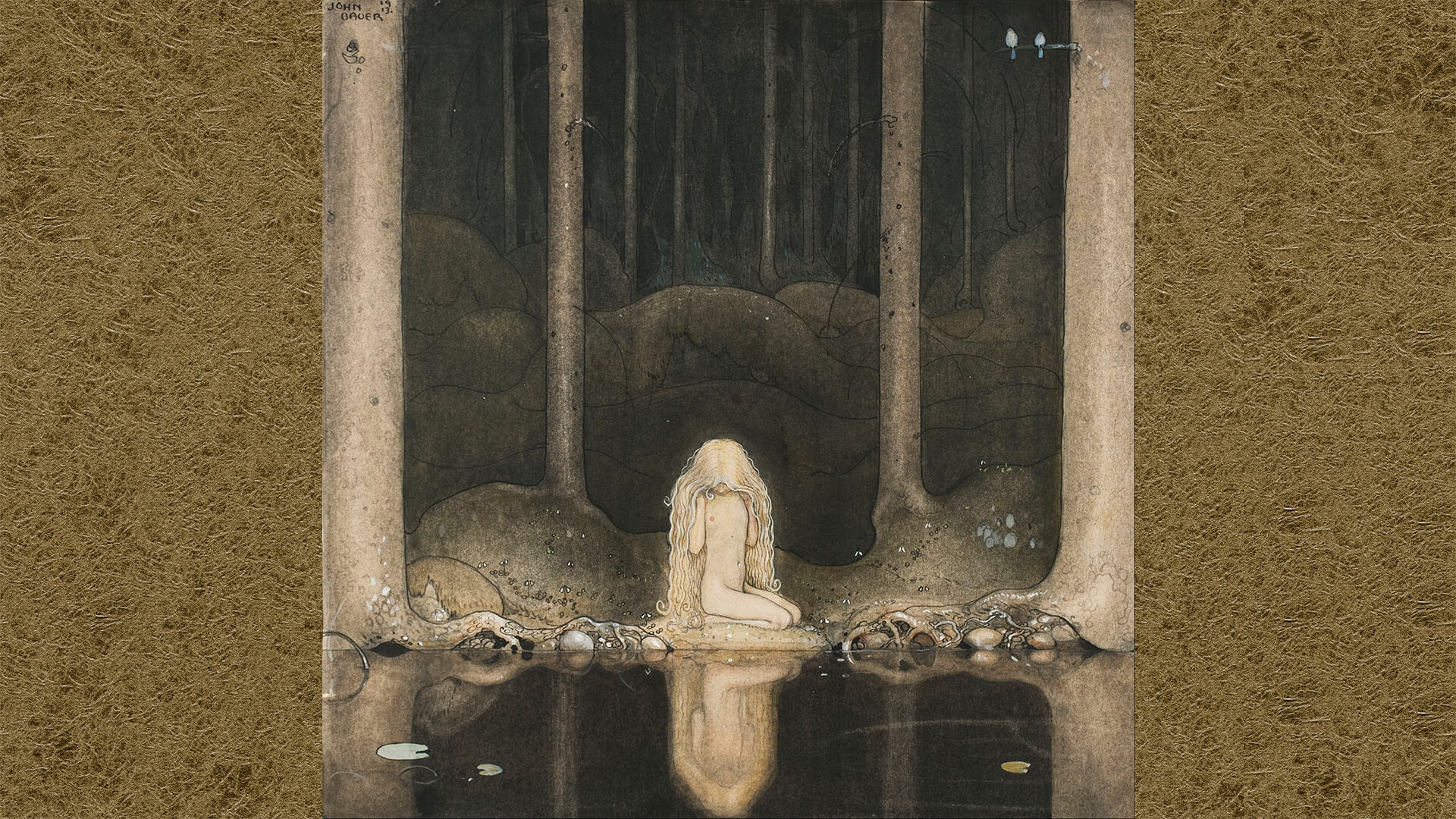 John Bauer-Princess Tuvstarr gazing down into the dark waters of the forest tarn.1920x1080
