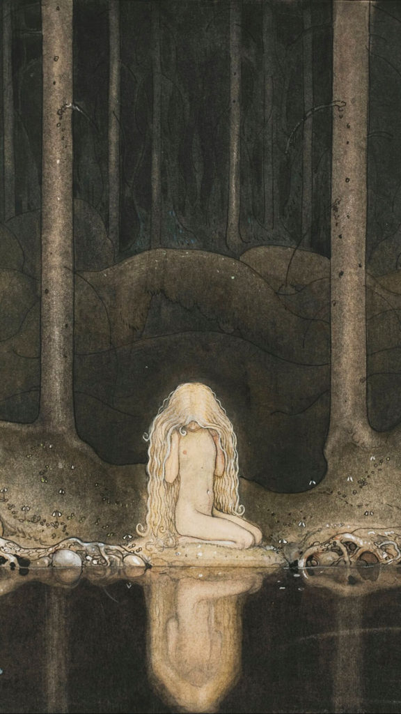 John Bauer-Princess Tuvstarr gazing down into the dark waters of the forest tarn._1080x1920