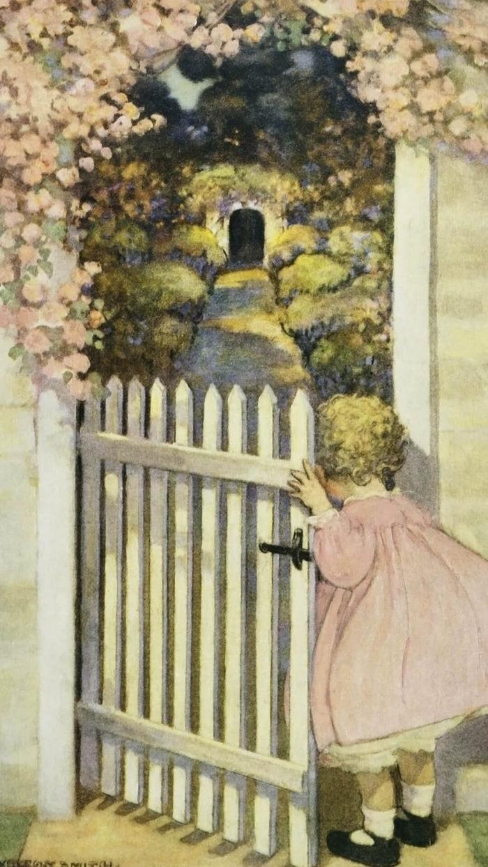 ジェシー・ウィルコックス・スミス Jessie Willcox Smith / Walking Through a Gate