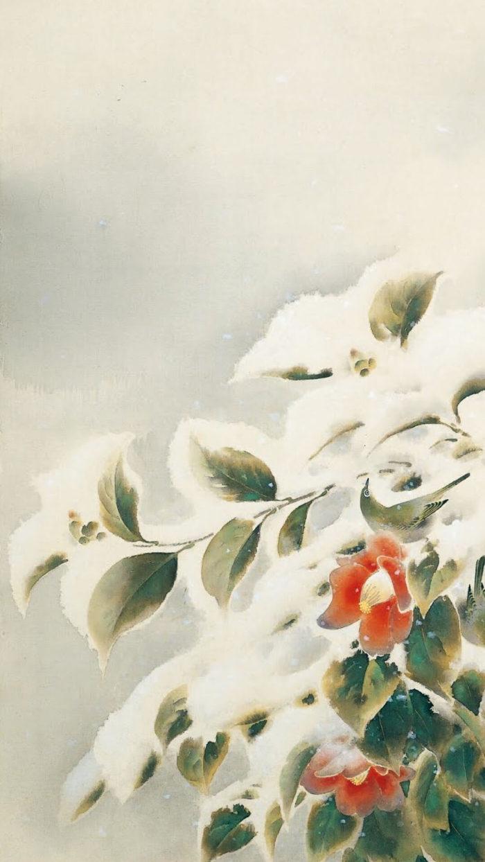 榊原紫峰 Sakakibara Shio / 雪中棲小禽