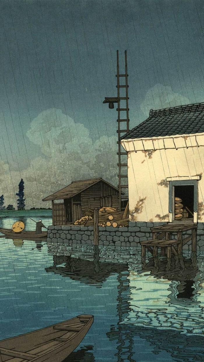 川瀬巴水 kawase hasui / 雨の牛堀