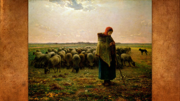 Jean-François Millet-Shepherdess with her Flock1_1920x1080