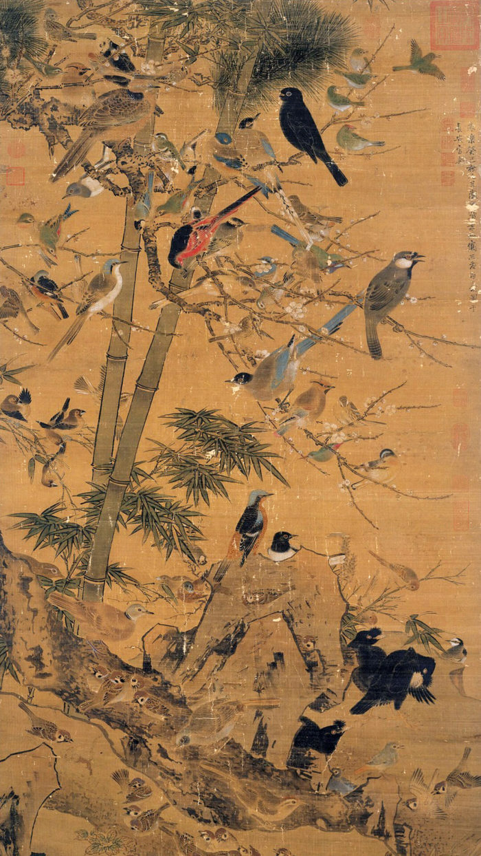Bian Wen jin-Three Friends and a Hundred Birds_1080x1920