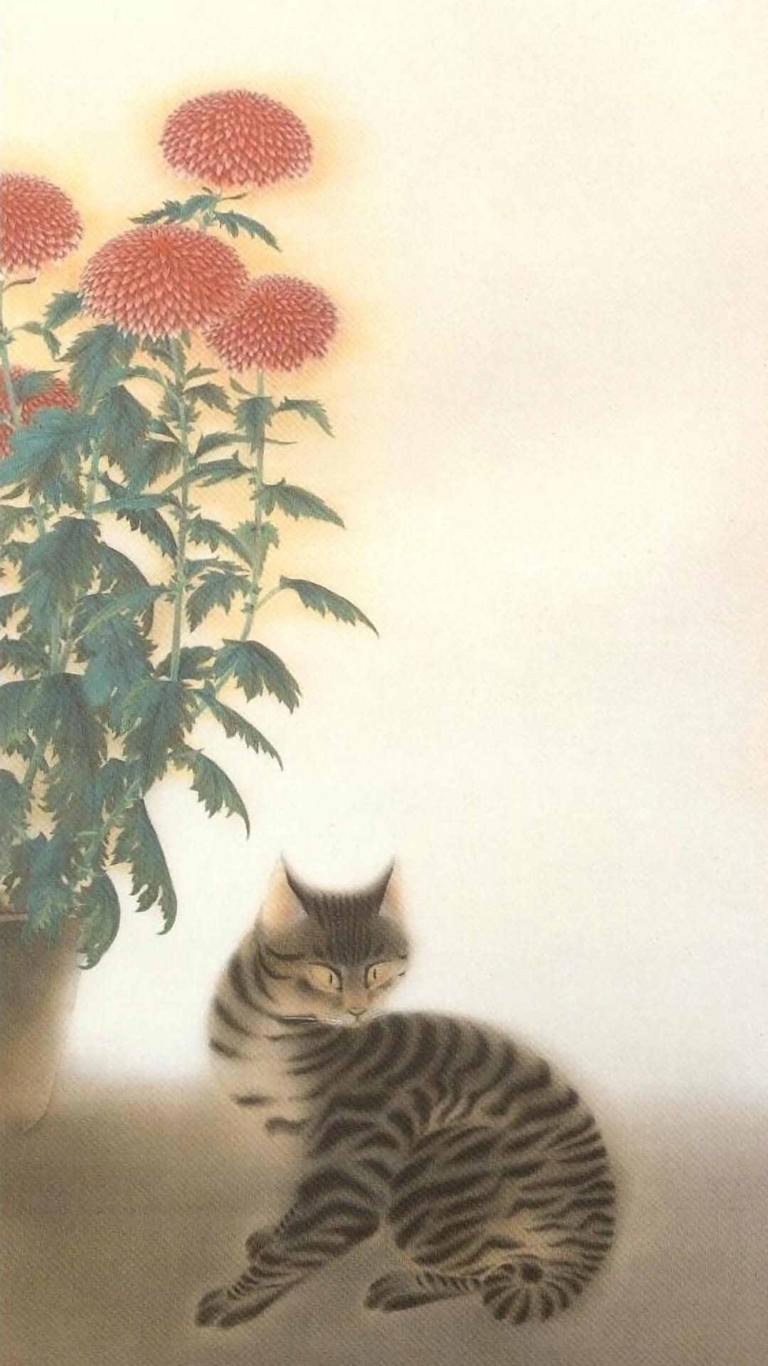 速水御舟 Hayami Gyoshu / 菊に猫