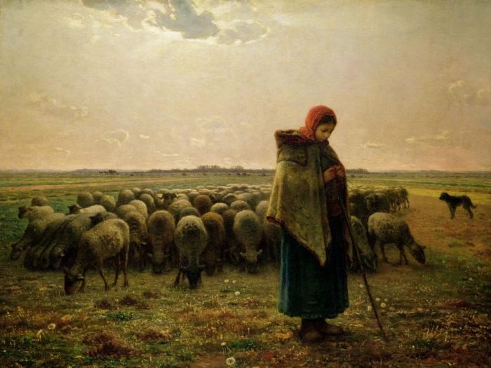 Jean-Francois Millet-Shepherdess with her Flock_2732x2048