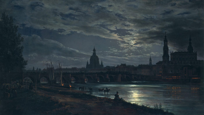 ヨハン・クリスチャン・ダール Johan Christian Dahl / View of Dresden by Moonlight