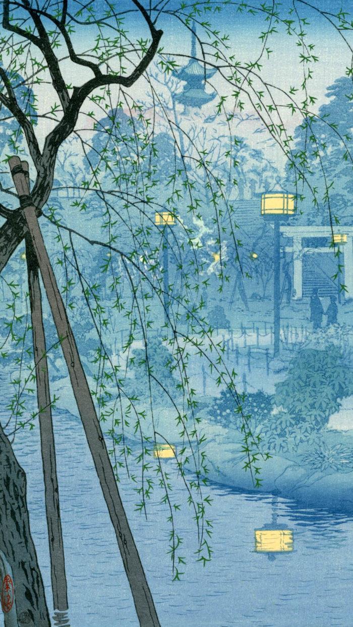 Kasamatsu shiro 笠松紫浪 / 霞む夕べ 不忍池