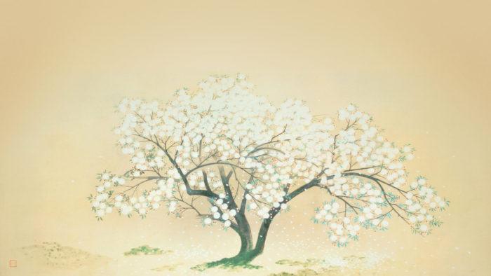 Kobayashi Kokei-Kiyo hime iriai zakura_1920x1080