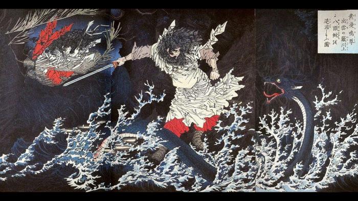 Tsukioka Yoshitoshi 月岡芳年 / 素戔嗚尊出雲の簸川上に八頭蛇を退治したまふ図