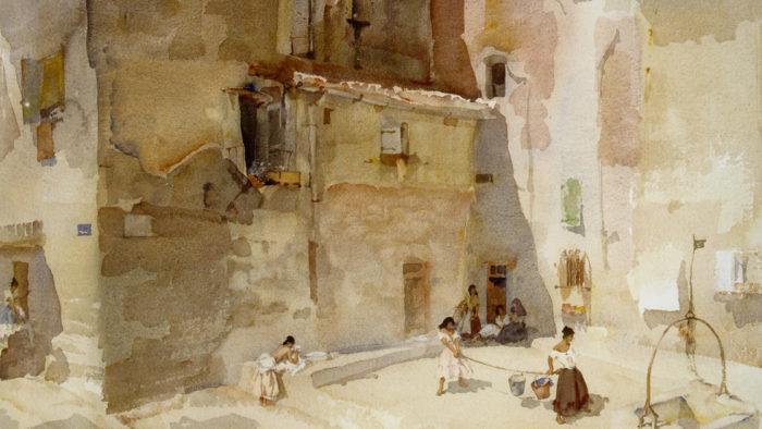 ウィリアム・ラッセル・フリント William Russell Flint-A sunlit square, Languedoc