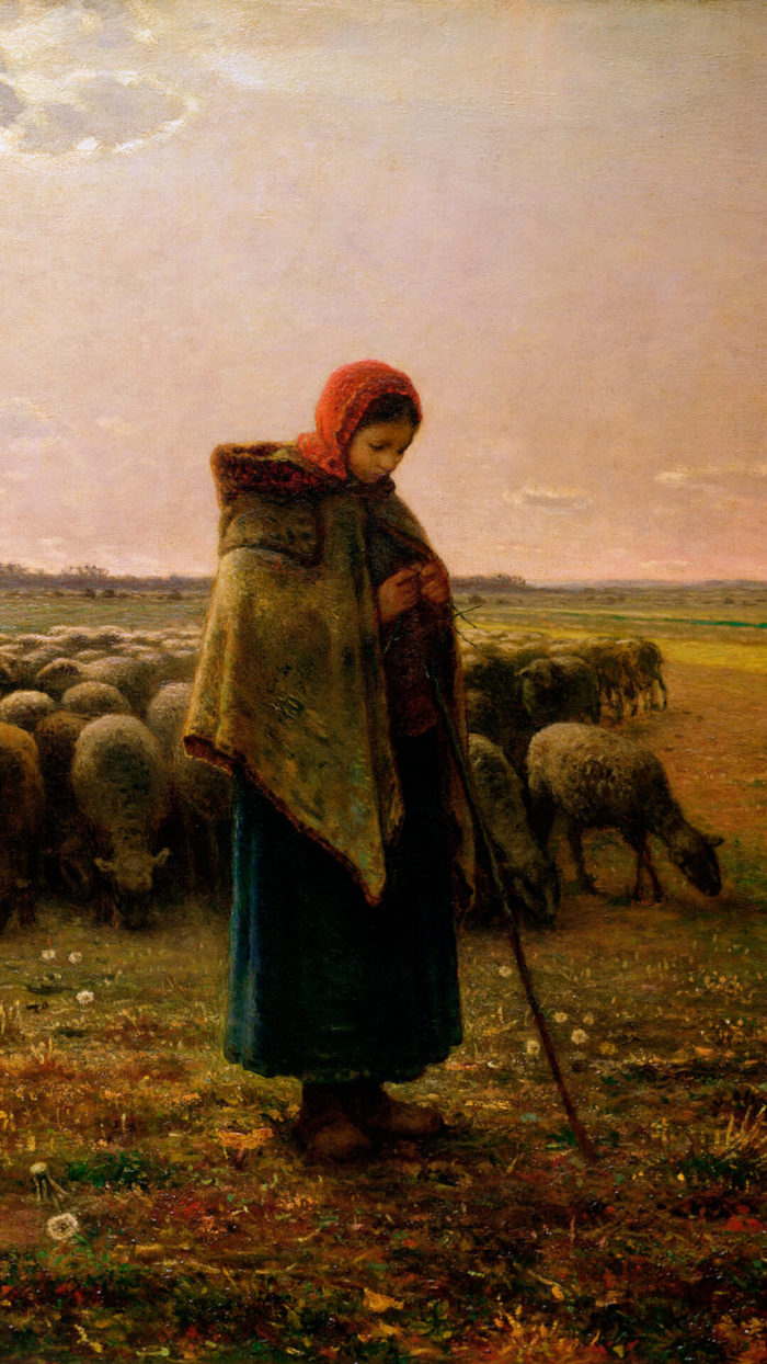Jean-François Millet-Shepherdess with her Flock_1080x1920
