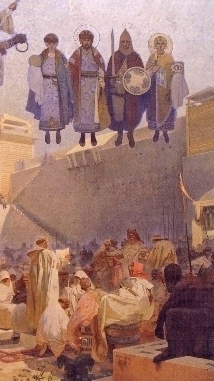Alfons Mucha-Zavedení slovanské liturgie na Velké Moravě_d1_1080x1920
