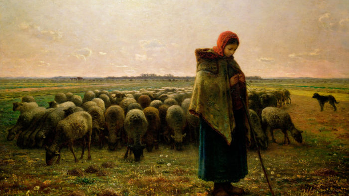 Jean-François Millet-Shepherdess with her Flock_1920x1080
