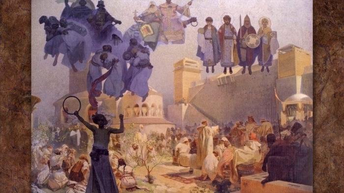 Alfons Mucha-Zavedení slovanské liturgie na Velké Moravě_1920x1080