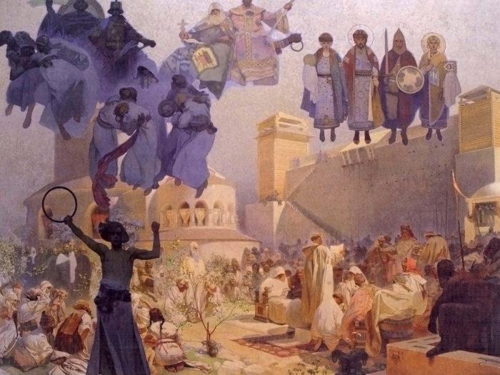 Alfons Mucha-Zavedení slovanské liturgie na Velké Moravě_2732x2048