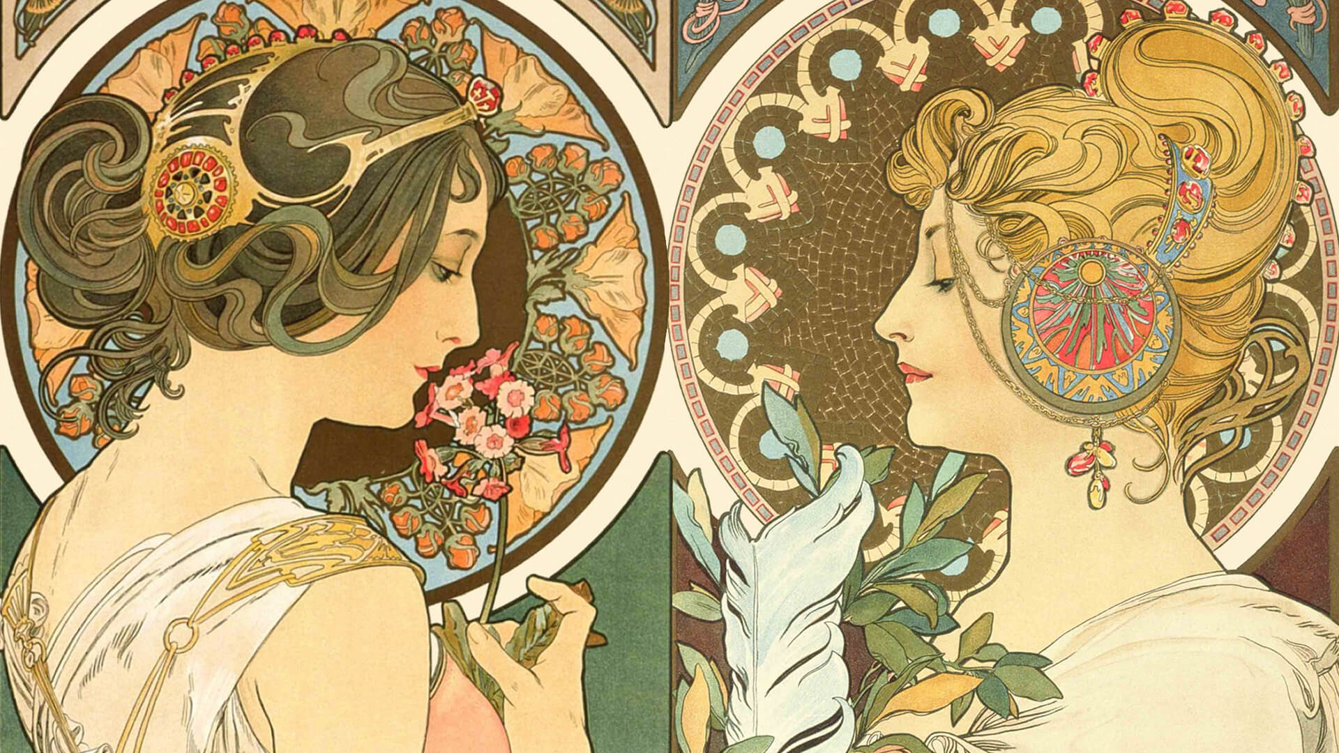 Alphonse mucha_primrose and feather_1920x1080