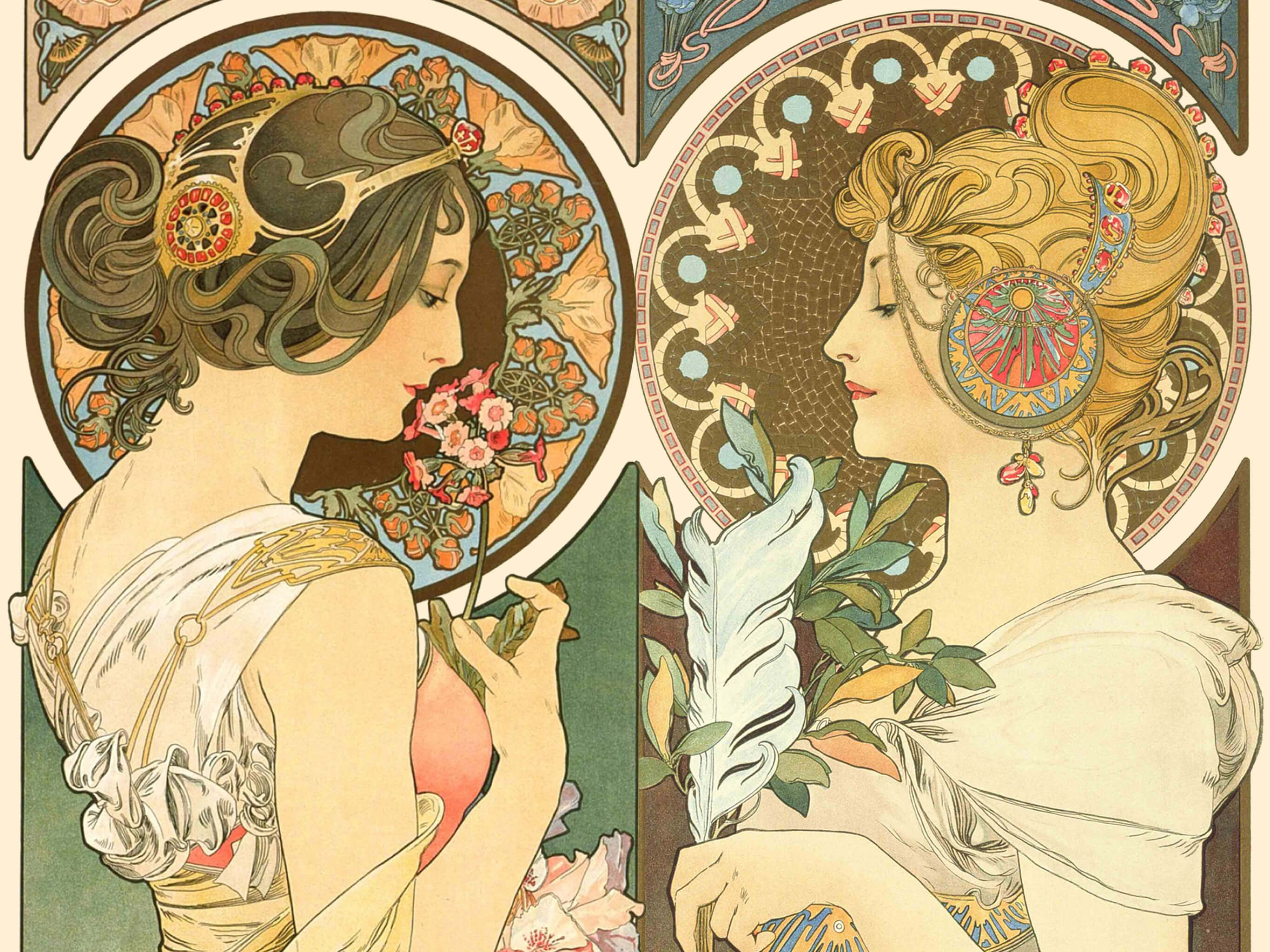 Alphonse mucha_primrose and feather_2732x2048