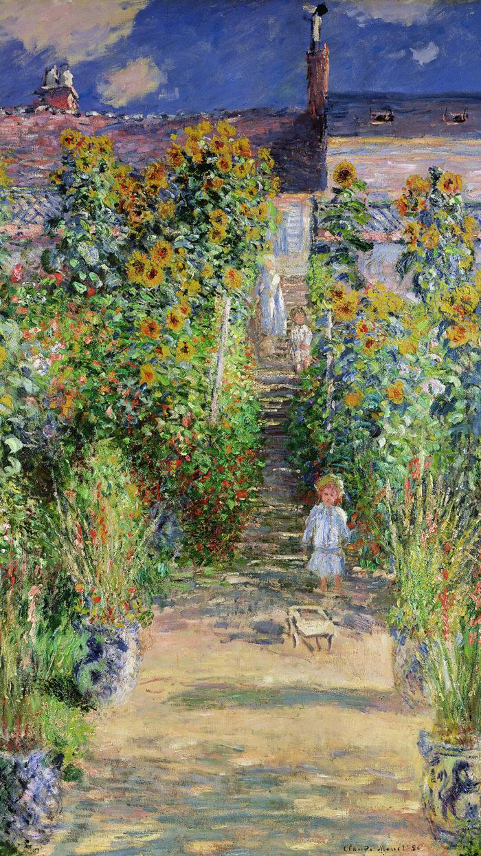 Claude Monet-Monet's garden at Vetheuil_1080x1920
