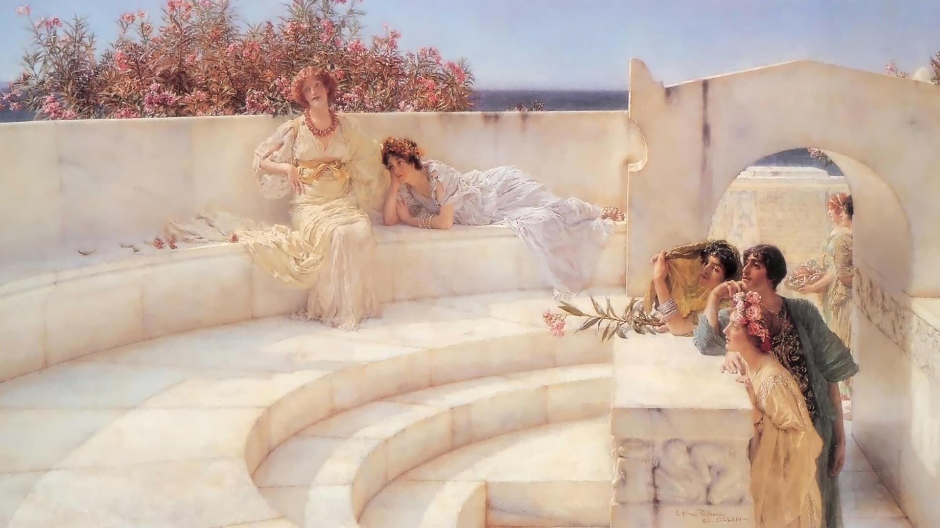 Lawrence Alma-Tadema_Under the Roof of Blue Ionian Weather_1920x1080