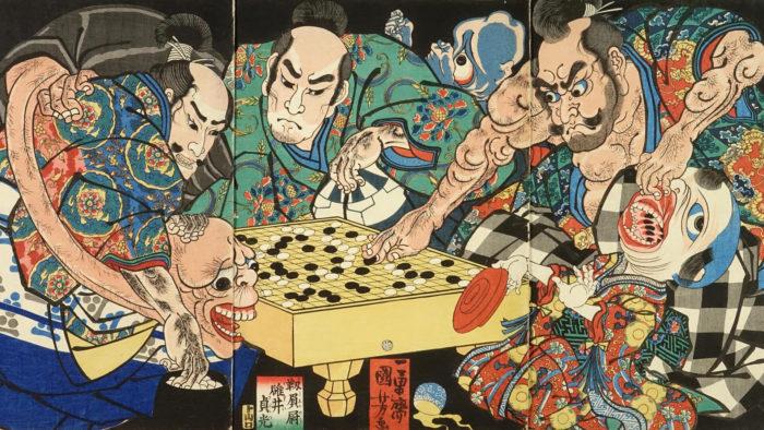 Utagawa Kuniyoshi_Sakata no Kintoki Usui no Sadamitsu Genji no tsuna to Yokai_1920x1080
