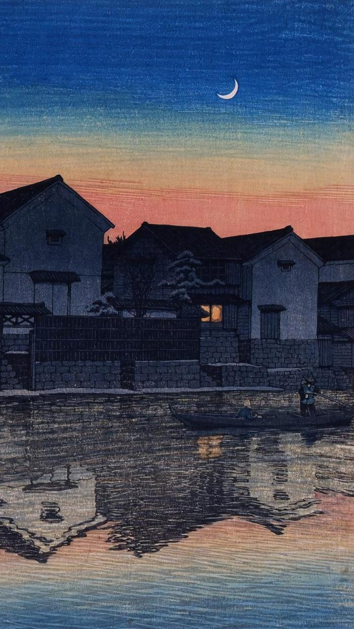 Kasase Hasui - Izumo matsue mikaduki 1080x1920