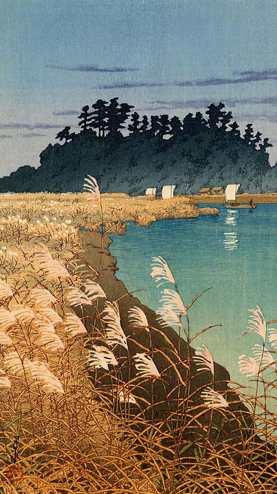 Kawase Hasui - Ichikawa no banshu 1080x1920