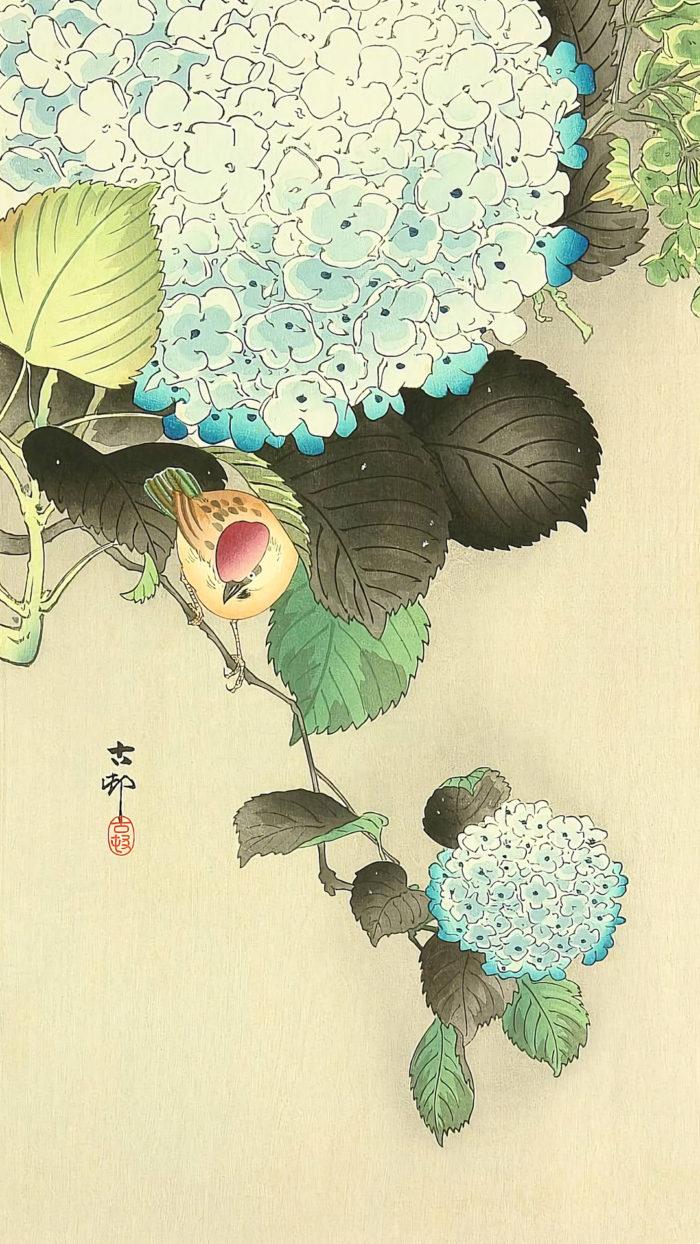Ohara Koson - Ajisai ni suzume 1080x1920