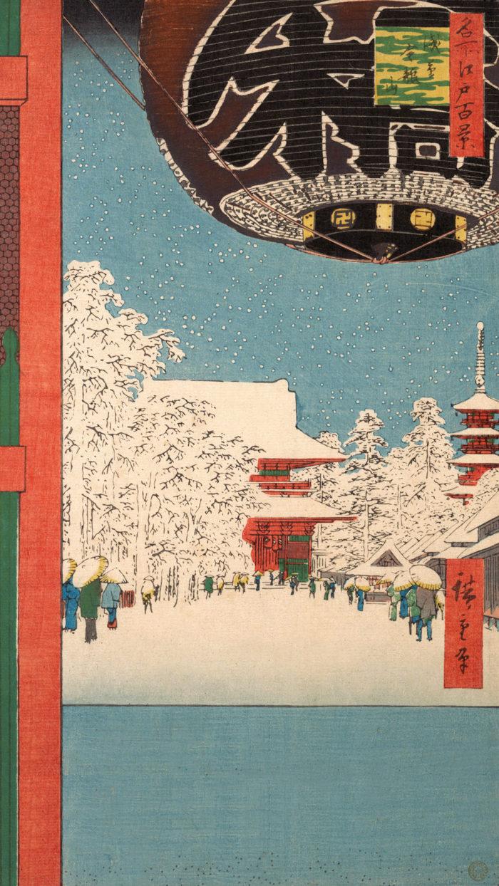 Utagawa Hiroshige - meisyo edo hyakkei asakusa kinryuuzan 1080x1920