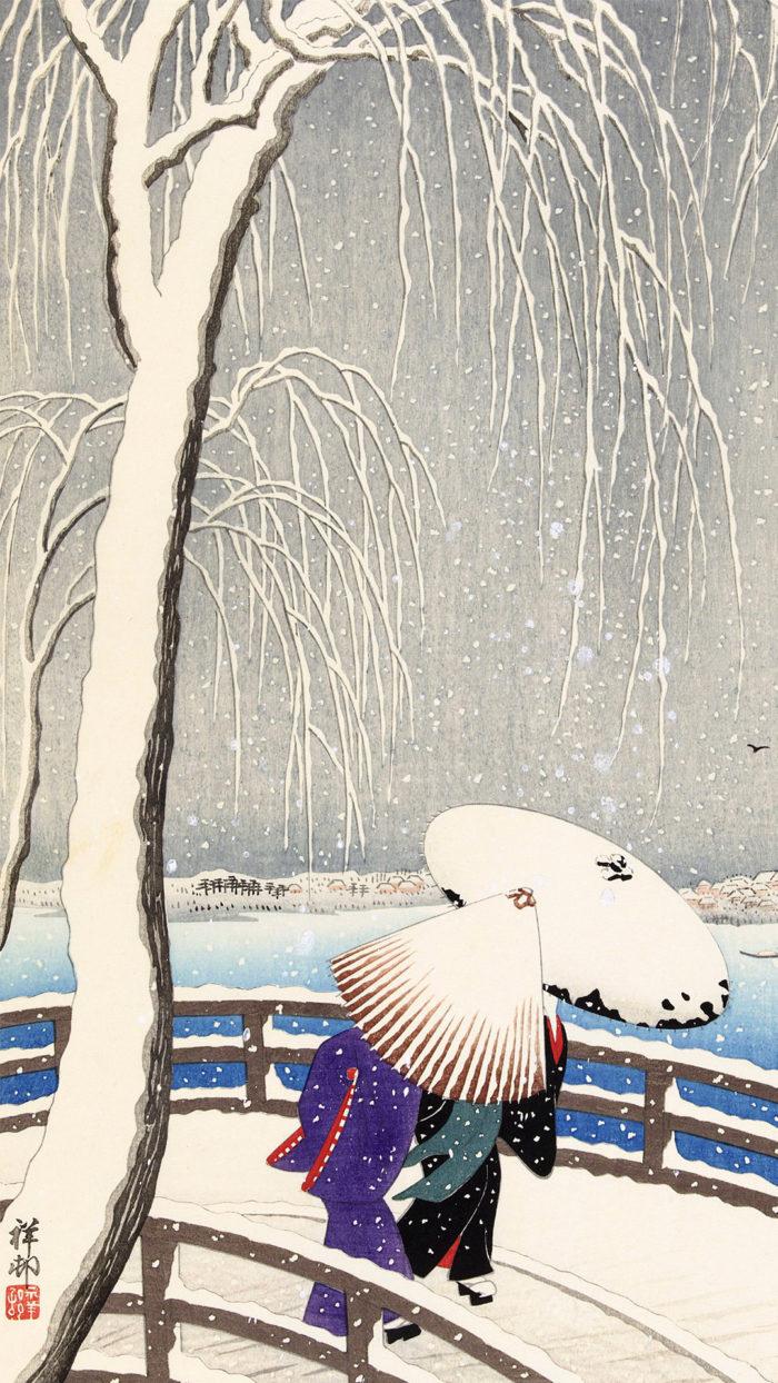 Ohara Koson - Yuki no yanagi bashi 1080x1920