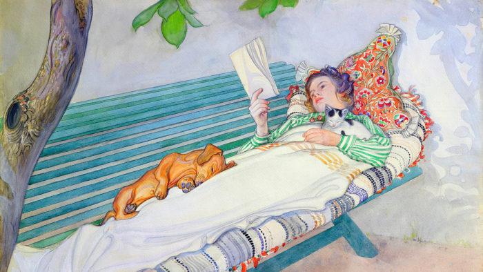 Carl Larsson - Woman Lying on a Bench 1920x1080