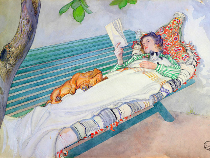 Carl Larsson - Woman Lying on a Bench 2732x2048