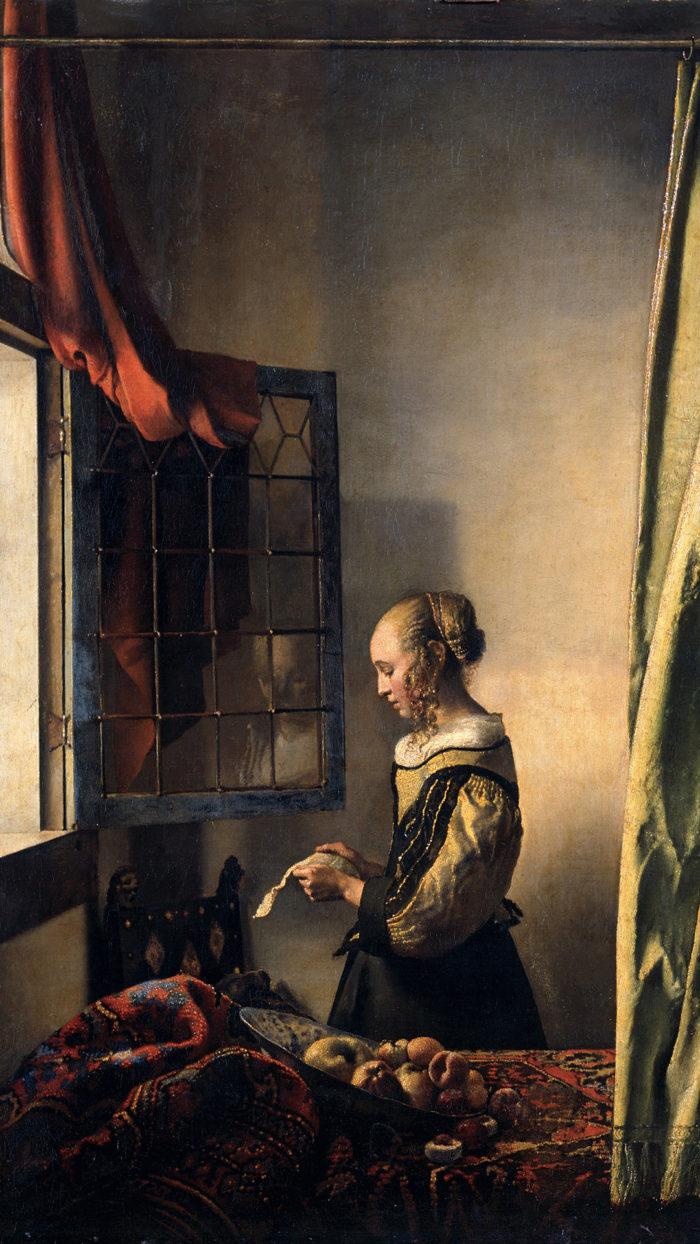 Johannes Vermeer - Brieflezend meisje bij het venster 1080x1920