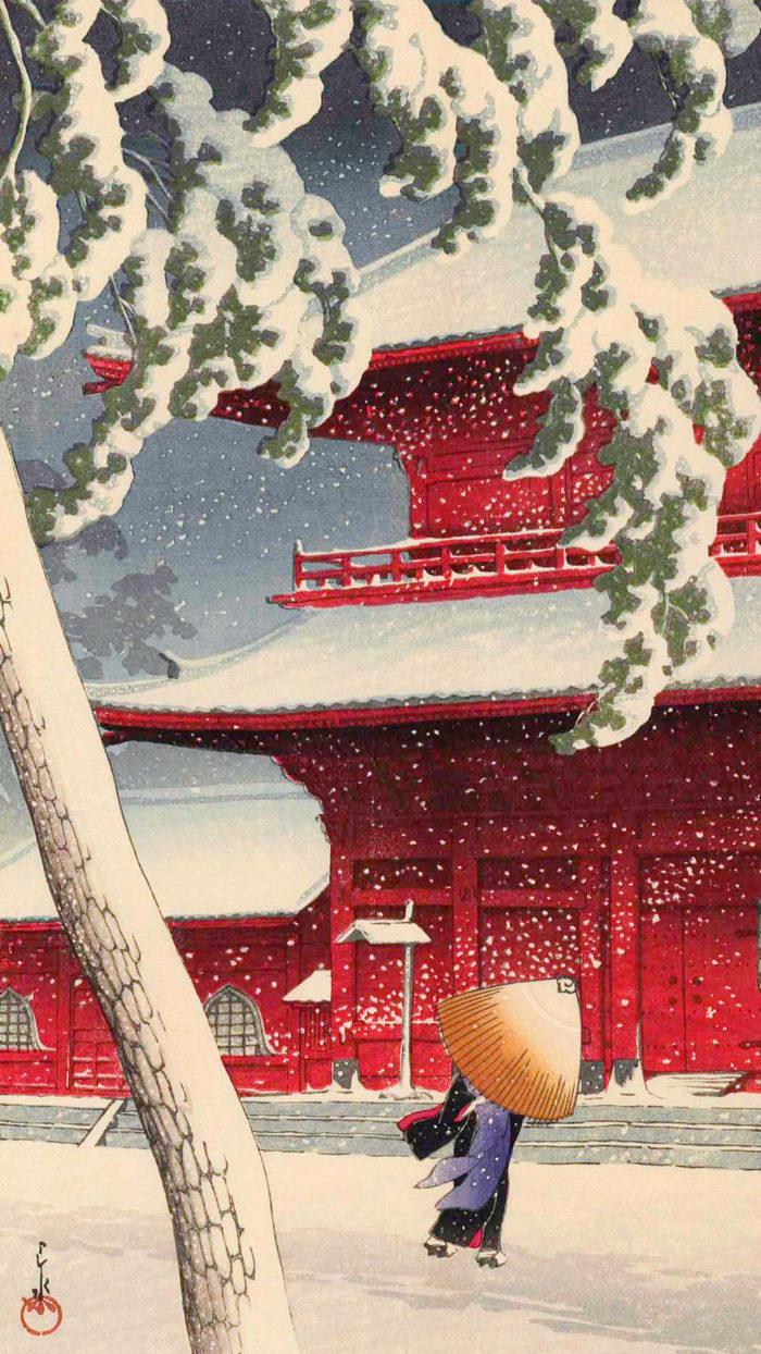 Kawase Hasui - Shiba zojoji 1080x1920