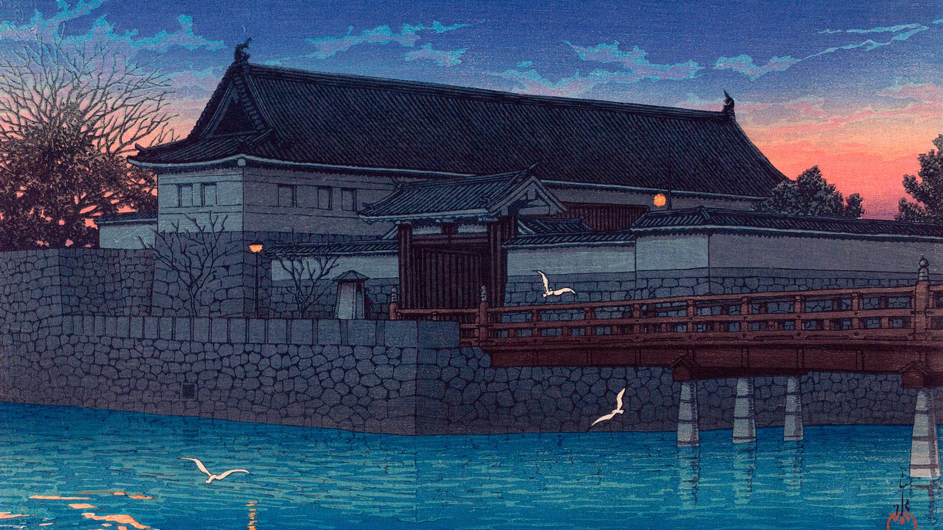 Kawase Hasui- Tokyo20kei hirakawa mon 1920x1080