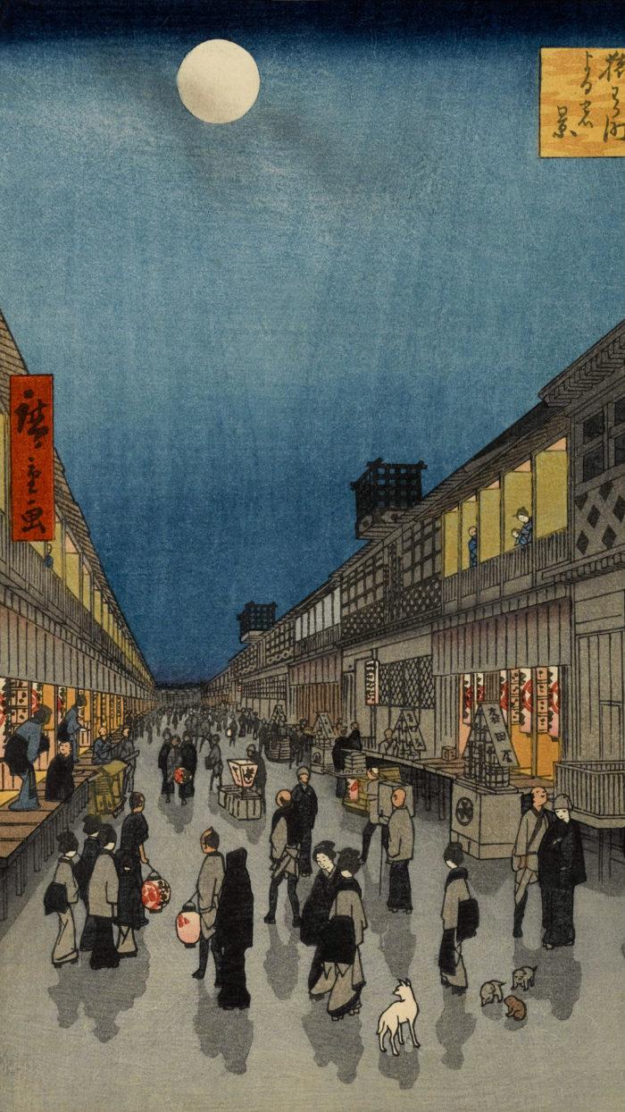 Utagawa Hiroshige - Saruwakacho yoru no kei 1080x1920