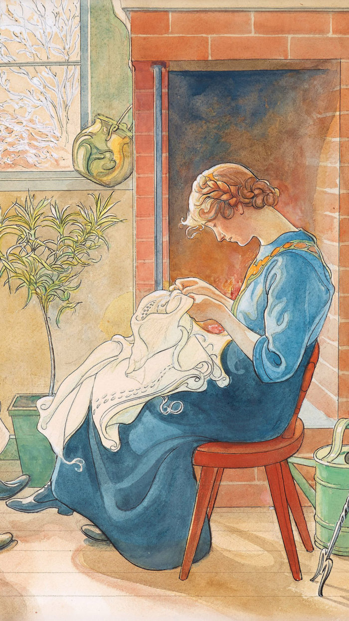 Carl Larsson - Sewing girls 1080x1920