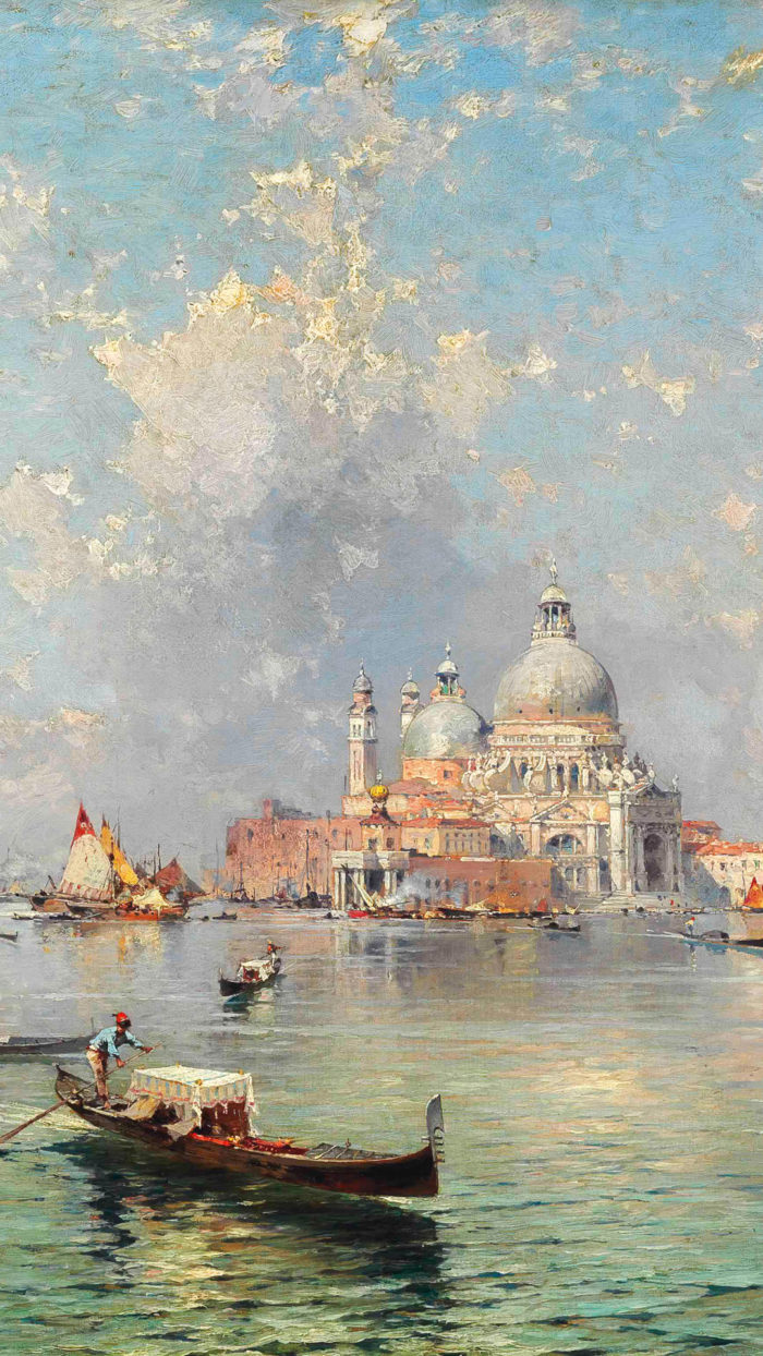 Franz Richard Unterberger - Gondolas in front of the Santa Maria della Salute, Venice 1080x1920