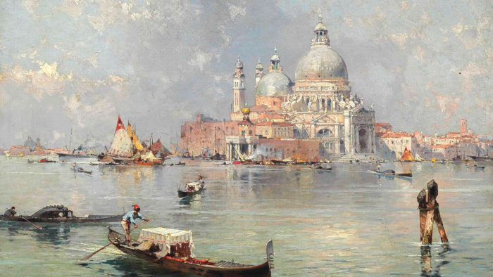 Franz Richard Unterberger - Gondolas in front of the Santa Maria della Salute, Venice 2560x1440