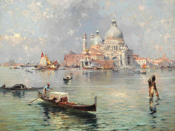 Franz Richard Unterberger - Gondolas in front of the Santa Maria della Salute, Venice 2732x2048