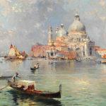フランツ・リチャード・アンターバーガー /  Gondolas in front of the Santa Maria della Salute, Venice